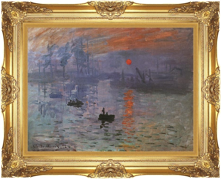 Claude Monet Impression Sunrise 12X16 Framed Art Canvas Giclee For Gold Coast Framed Art Prints (View 7 of 15)