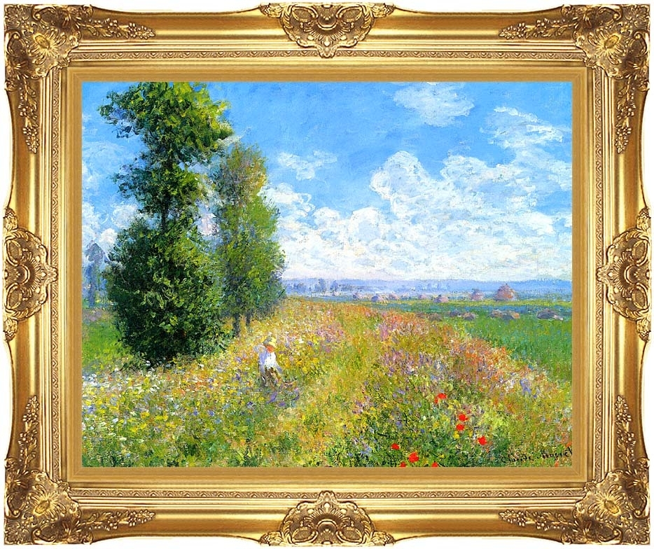 Claude Monet Meadow With Poplars 11X14 Framed Art Canvas Giclee Pertaining To Gold Coast Framed Art Prints (Image 11 of 15)