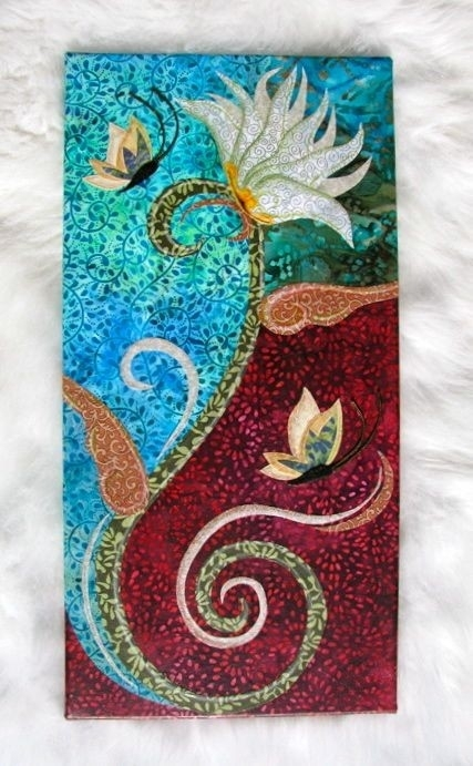 Clearance – Lotus Flower – Fabric Collage Wall Art – Ready To Hang For Fabric Collage Wall Art (View 2 of 15)