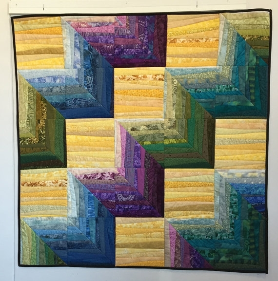 Clearance. Quilted Wall Hanging. Geometric Quilt (Image 8 of 15)