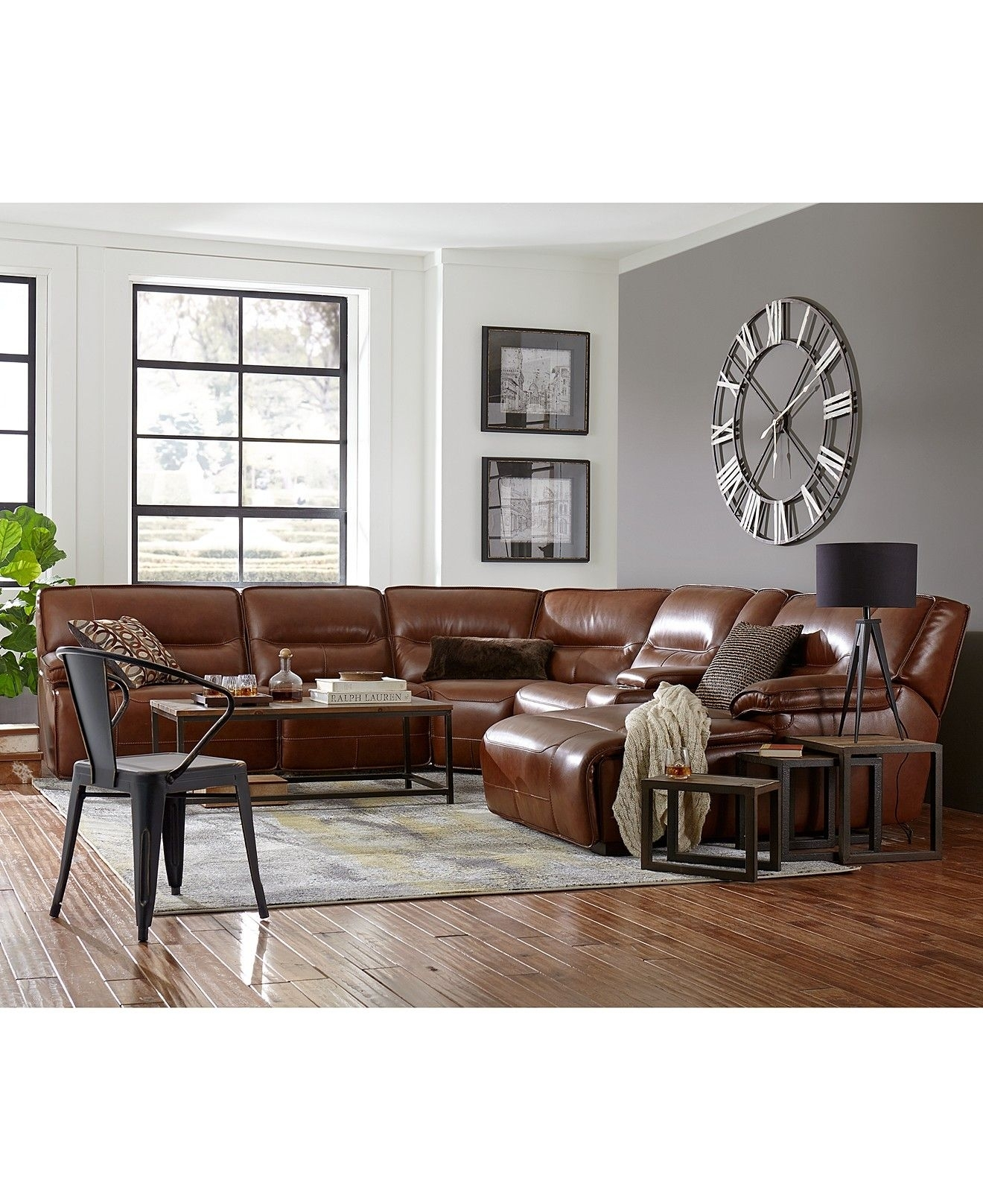 Closeout! Beckett Leather Power Reclining Sectional Sofa Collection With Macys Leather Sectional Sofas (Image 1 of 10)
