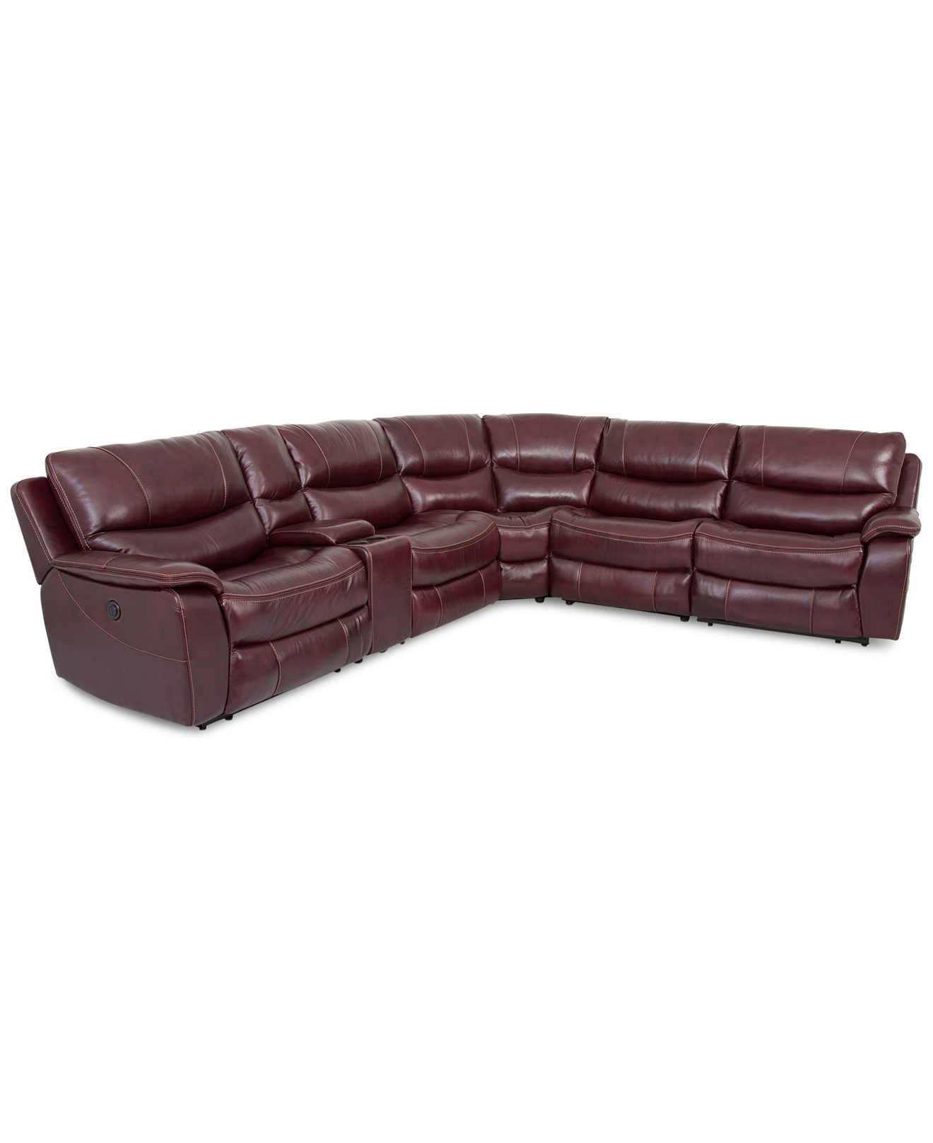 Closeout! Daren Leather 6 Pc Sectional Sofa With 3 Power Recliners For Jedd Fabric Reclining Sectional Sofas (View 6 of 10)