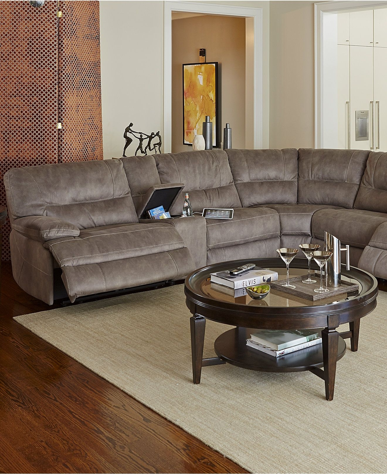Closeout! Liam Fabric Power Reclining Sectional Sofa Collection Within Jedd Fabric Reclining Sectional Sofas (View 3 of 10)
