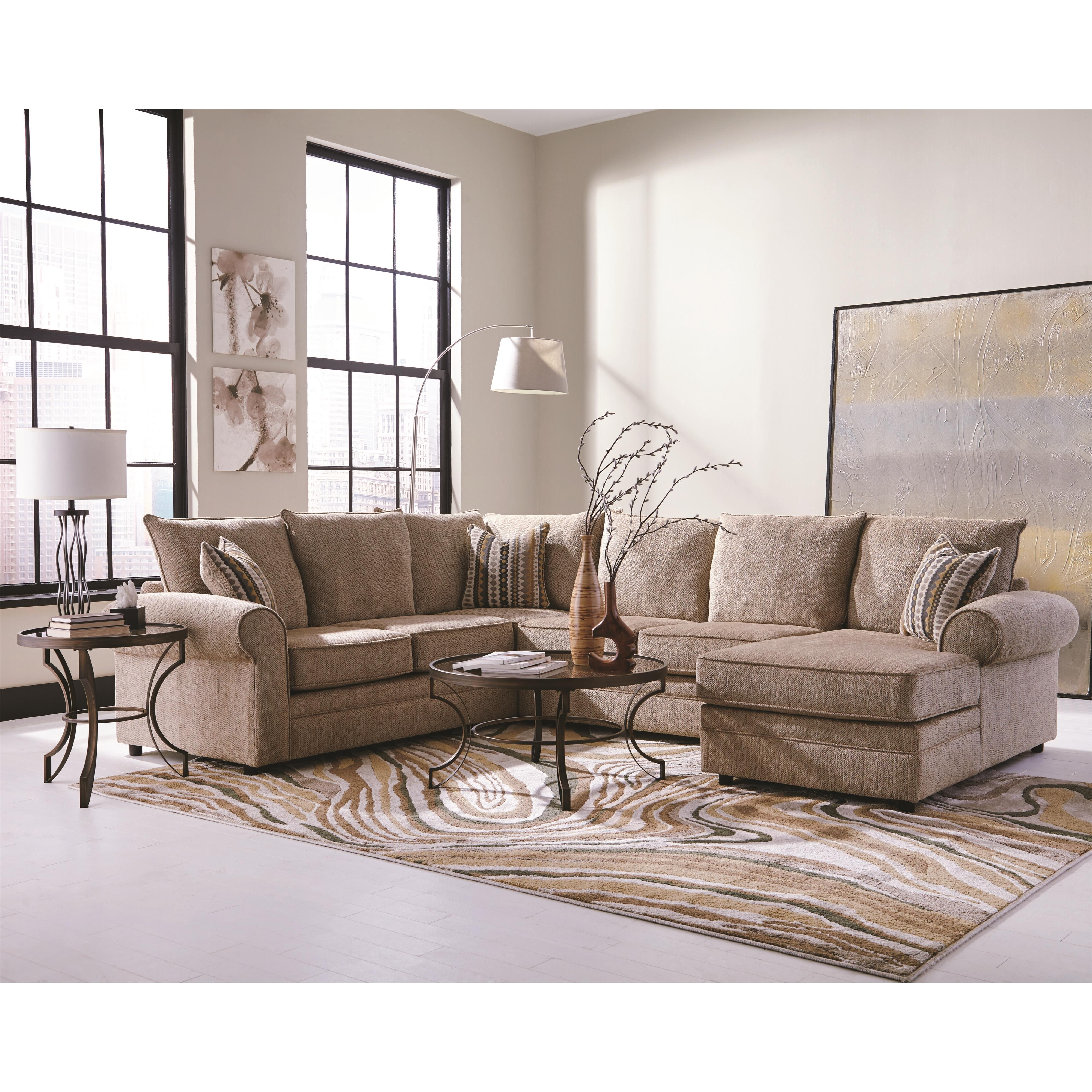 Coaster Fairhaven Cream Colored U Shaped Sectional With Chaise In U Shaped Sectionals (Image 4 of 10)