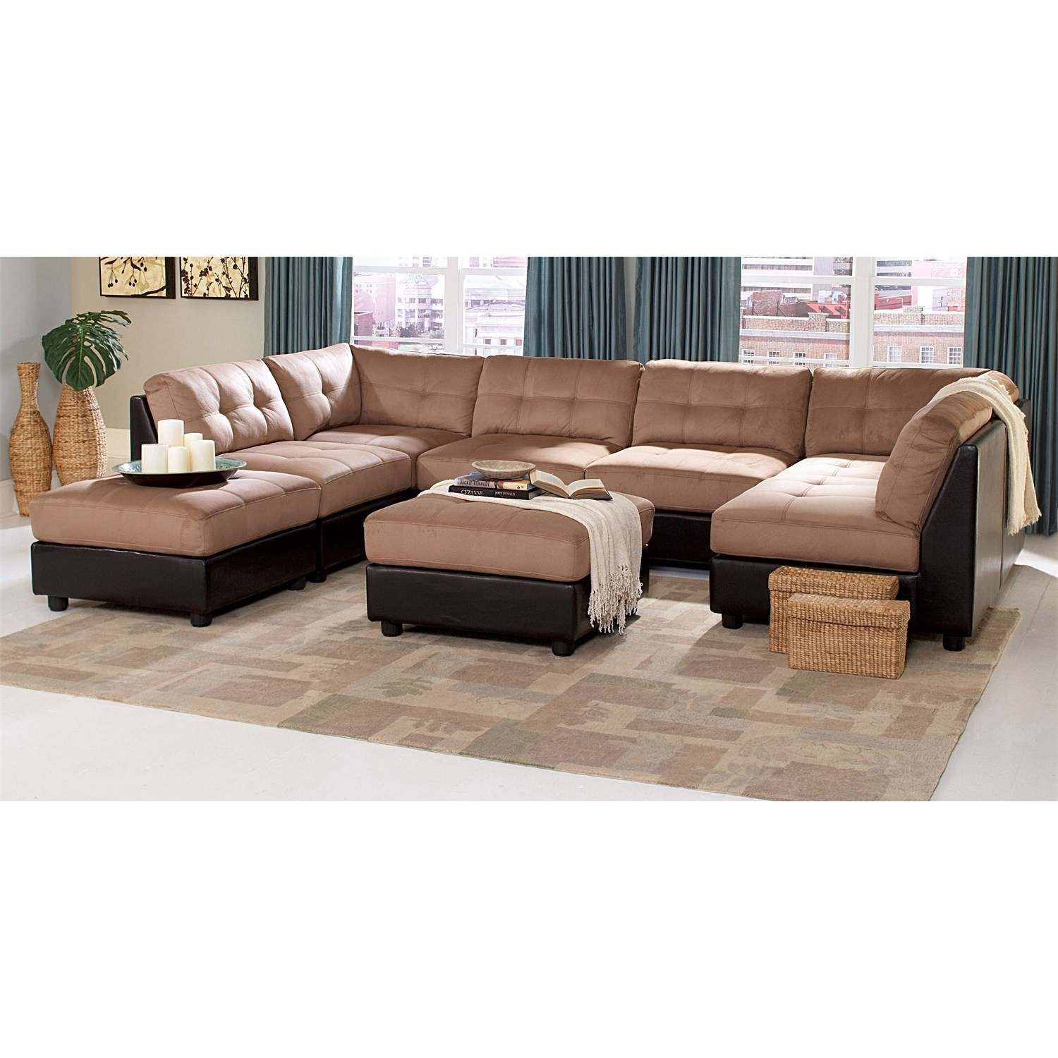 Coaster Furniture 551001/4 551002/2 Claude 6 Piece Brown Sectional Intended For Macon Ga Sectional Sofas (Image 4 of 10)