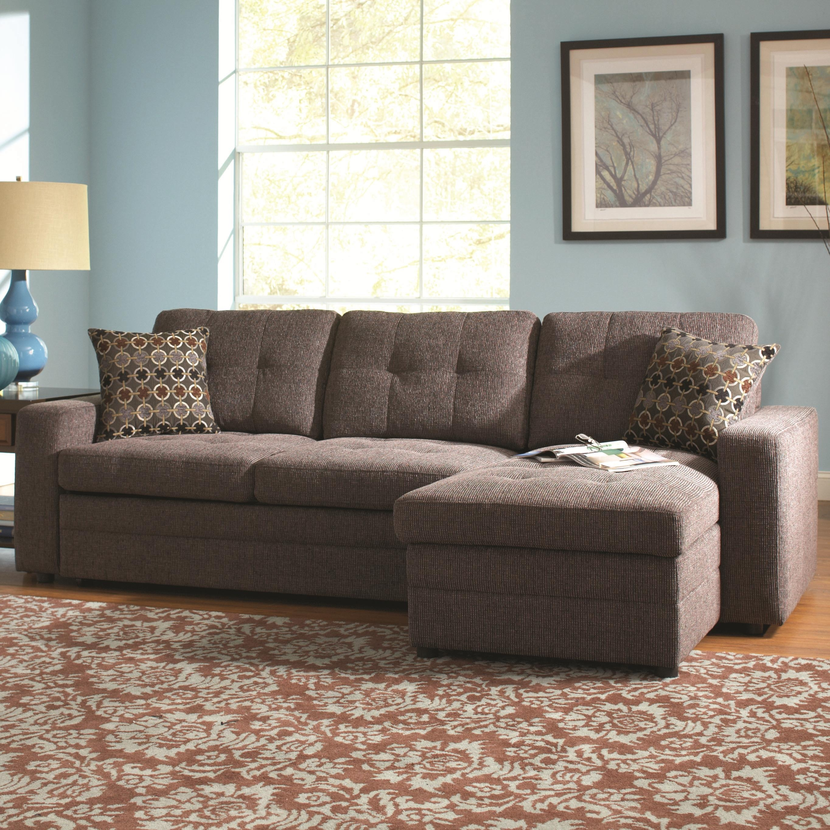 Coaster Gus Sectional Sofa With Tufts, Storage, And Pull Out Bed Inside Eugene Oregon Sectional Sofas (View 10 of 10)