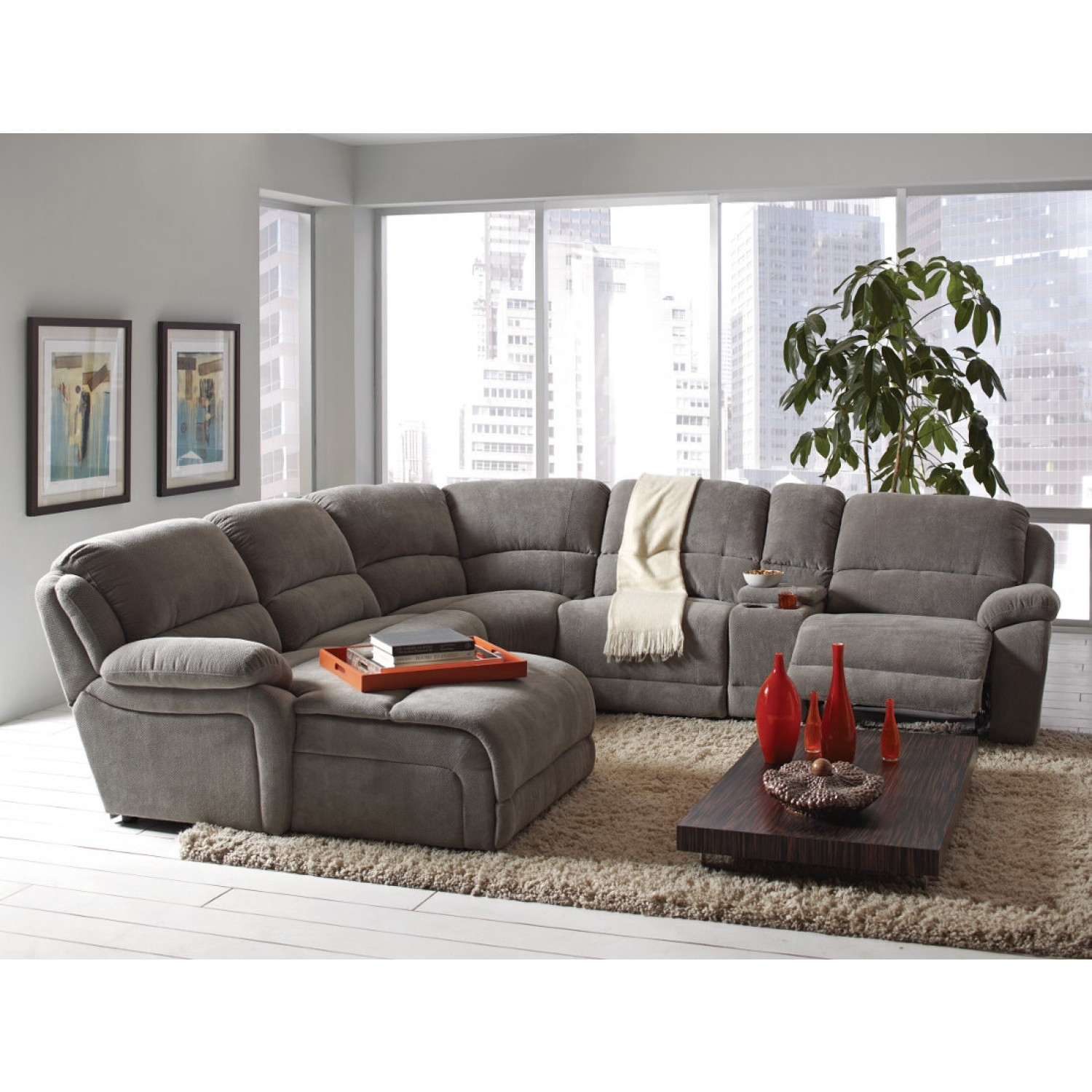 Coaster Mackenzie Silver 6 Piece Reclining Sectional Sofa With Inside Sectional Sofas That Come In Pieces (Image 4 of 10)