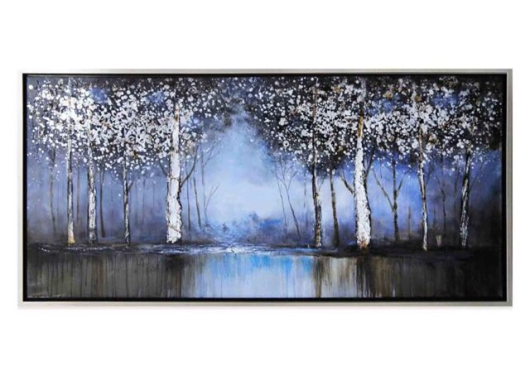 Cobalt Tree Hand Painted Canvas Wall Art From Bed Bath And Beyond Inside Rectangular Canvas Wall Art (View 11 of 15)