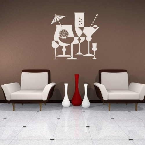 Cocktails, Drinks, Alcohol, Party, Decal, Vinyl, Sticker, Wall With Vinyl Wall Accents (Image 5 of 15)