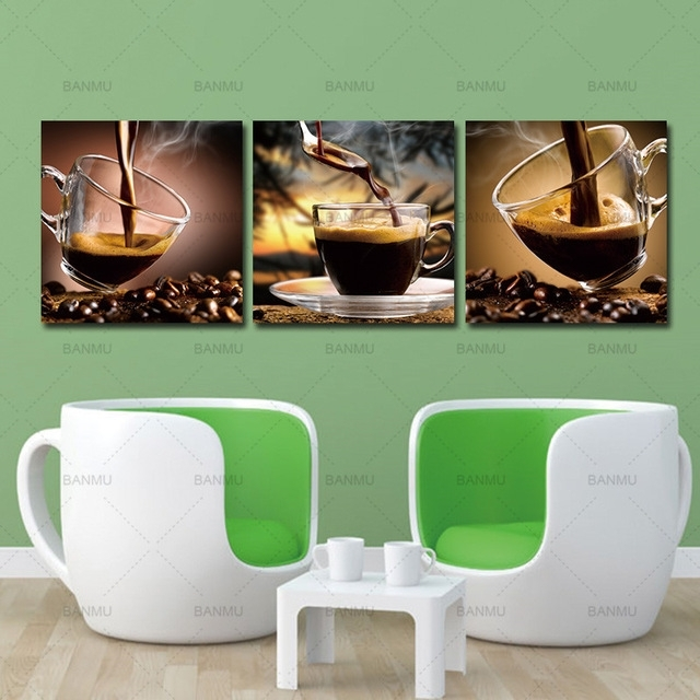 Coffee Canvas Wall Art Painting Coffee Cup Triptych Canvas Art Inside Coffee Canvas Wall Art (Image 7 of 15)