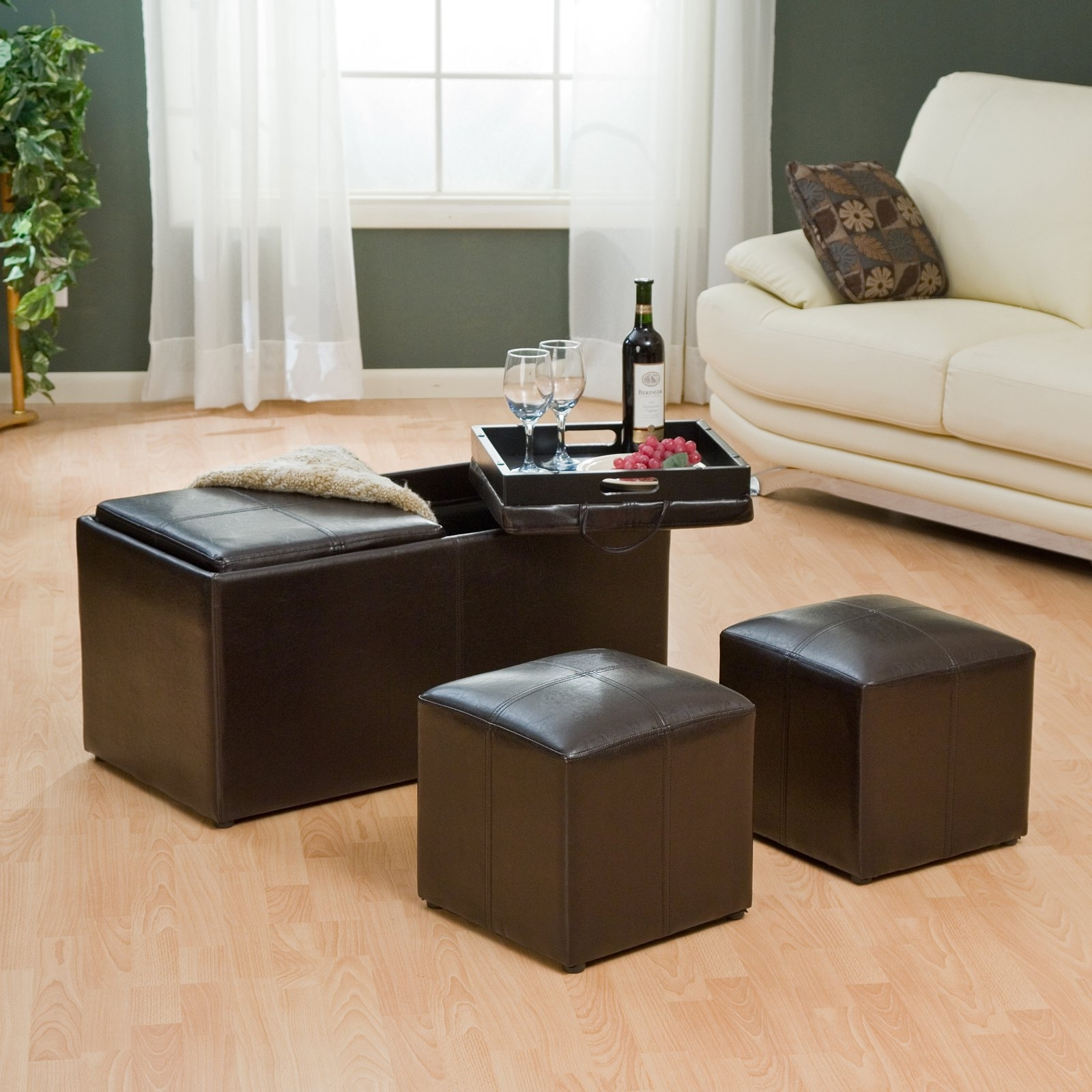 Coffee Table With Ottomans Tray — All Furniture : Get The Most Out For Ottomans With Tray (Image 3 of 10)