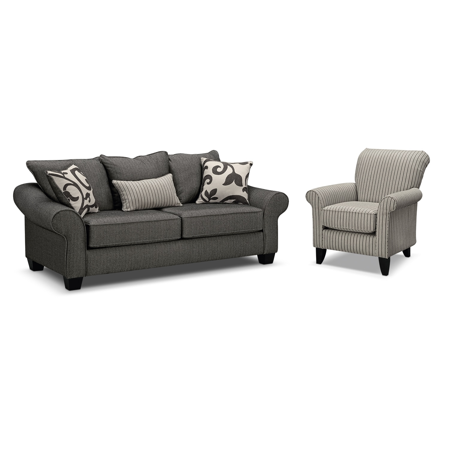 Colette Sofa And Accent Chair Set – Gray | Value City Furniture And Regarding Sofa And Accent Chair Sets (Image 6 of 10)