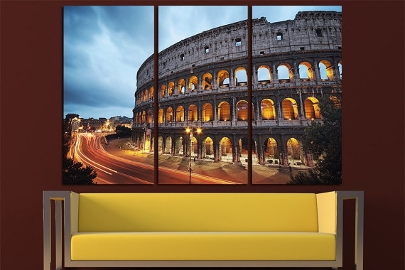 Coliseum At Night Rome Canvas Wall Art Multi Panel Set Rome Within Canvas Wall Art Of Rome (Image 9 of 15)