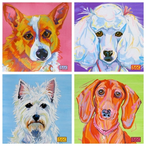 Color Dogs Canvas Prints Ii Set Of Four And Artwork In Decor : All Within Dogs Canvas Wall Art (Image 4 of 15)