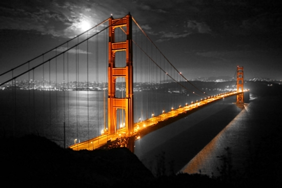 Color On Black And White Canvas Prints Throughout Golden Gate Bridge Canvas Wall Art (Image 7 of 15)
