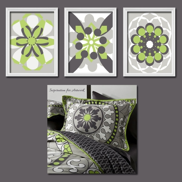 Colorful Bold Grey Lime Green Charcoal Flourish Artwork Set Of 3 Inside Lime Green Abstract Wall Art (Image 4 of 15)