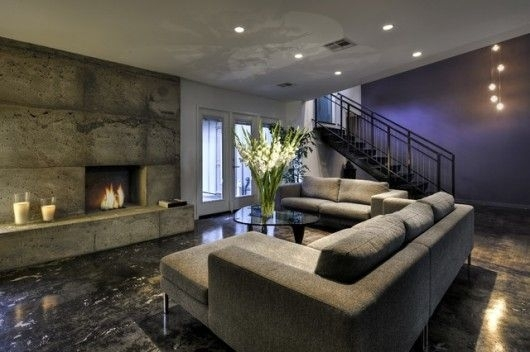 Concrete Tile Fireplace Purple Accent Wall Grey Flooring Within Basement Wall Accents (View 4 of 7)