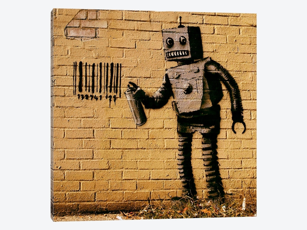 Coney Island Barcode Robot Yellow Canvas Wall Artbanksy | Icanvas Pertaining To Robot Canvas Wall Art (Image 4 of 15)