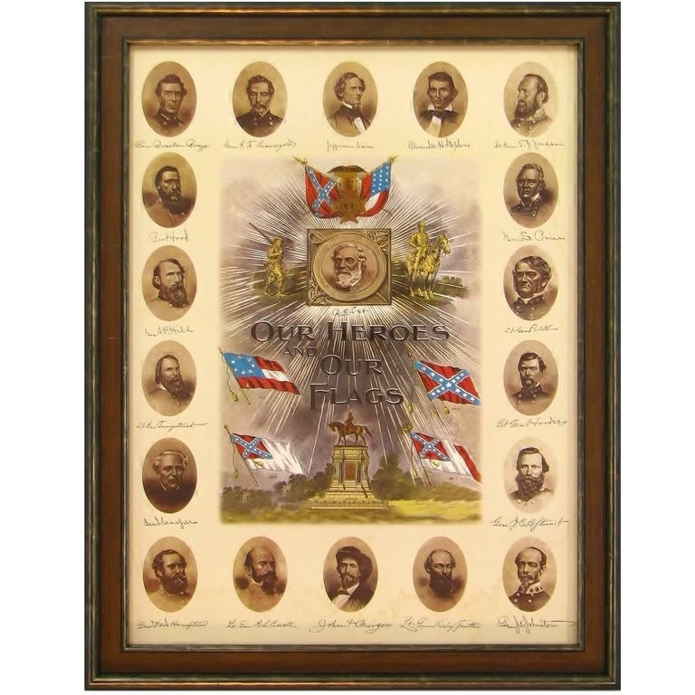 "Confederate Leadership Lithograph ""our Heroes And Our Flags"" Print Within Confederate Framed Art Prints (View 10 of 15)"