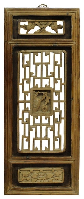 Consigned Chinese Vintage Restored Wood Wall Hanging Art Cs2675 Inside Asian Wall Accents (Image 10 of 15)