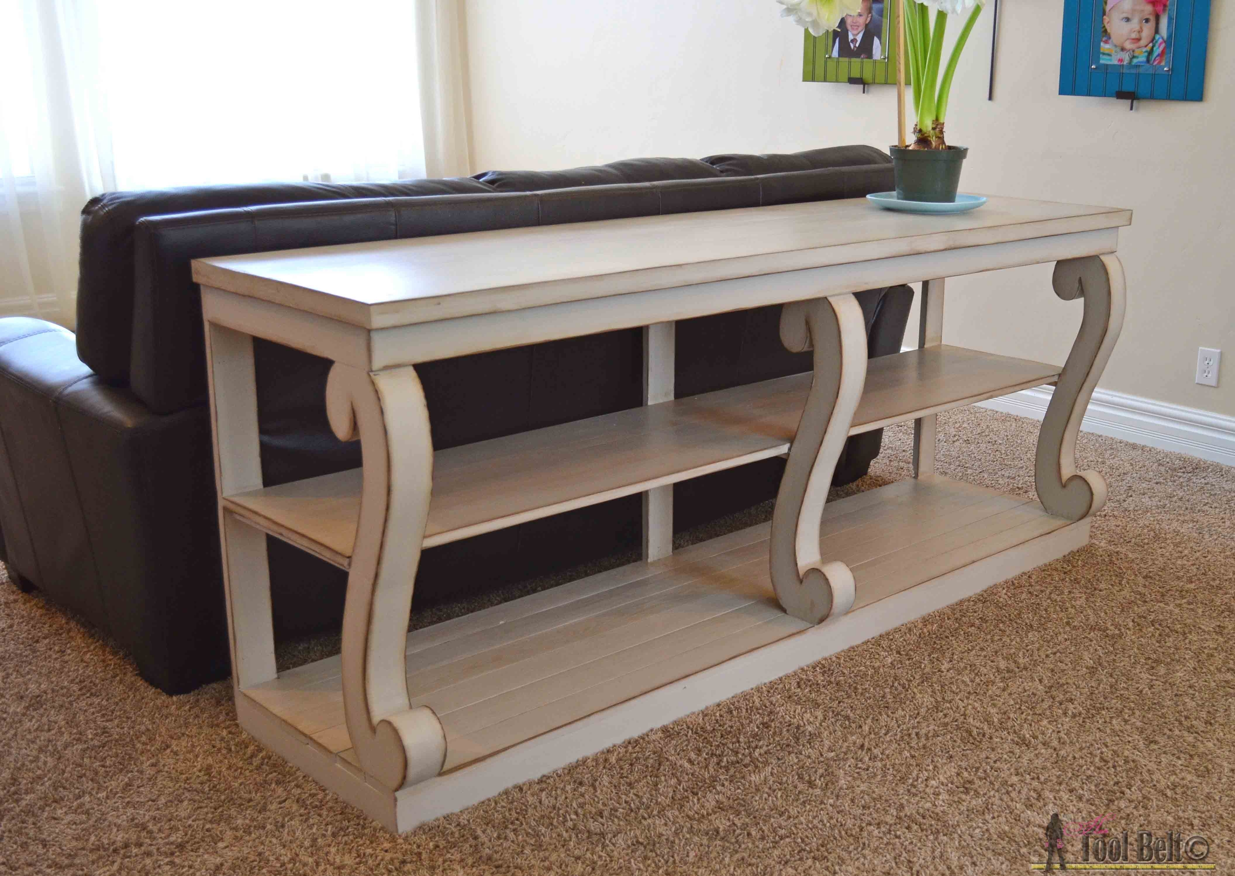 Console Table With Scroll Legs – Her Tool Belt Pertaining To Sofas With Back Consoles (Image 1 of 10)