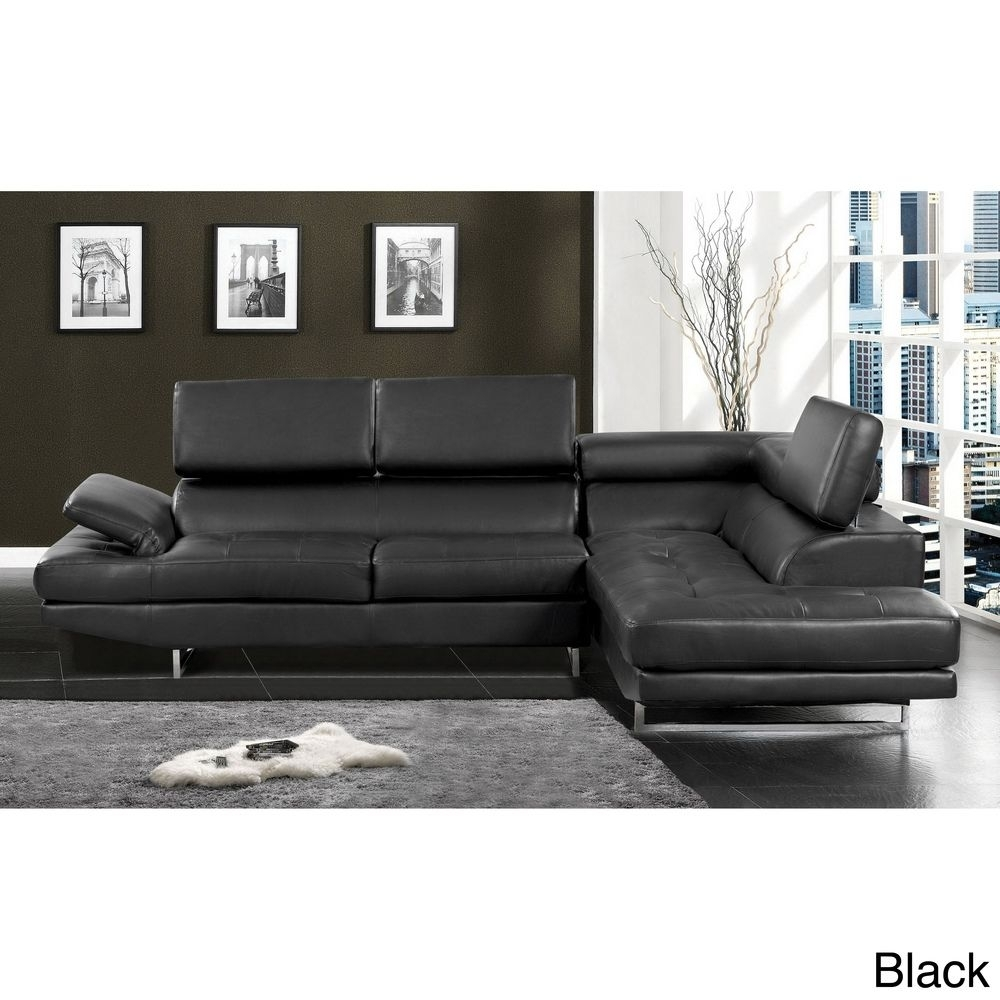 Contemporary 2 Piece Sectional With Adjustable Headrest | Overstock Throughout Overstock Sectional Sofas (View 4 of 10)