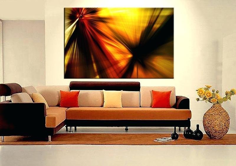 Contemporary Art Wall Decor 1 Piece Yellow Abstract Large Pictures Inside Abstract Living Room Wall Art (Image 8 of 15)