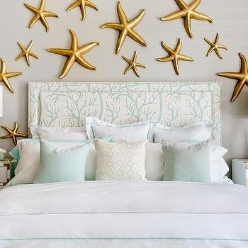 Contemporary Beach Cottage Bedroom With Gold Starfish Wall Decor With Gold Wall Accents (Image 2 of 15)