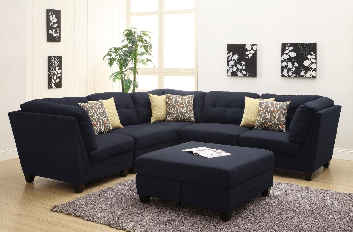 Contemporary Black Leather Sectional Sofa Left Side Chaise Intended For Eco Friendly Sectional Sofas (View 7 of 10)