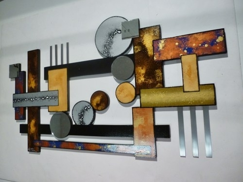 Contemporary Geometric Abstract Wood Metal Mirror Wall Sculpture Intended For Abstract Geometric Metal Wall Art (View 9 of 15)