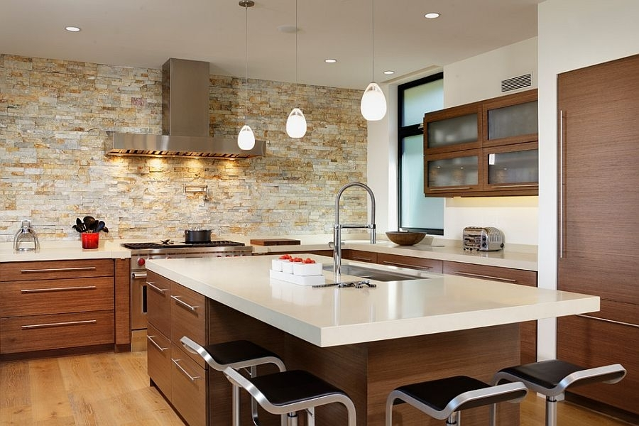 Contemporary Kitchen With Stone Wall Accent Decor And Smart Inside Wall Accents Cabinets (Image 5 of 15)