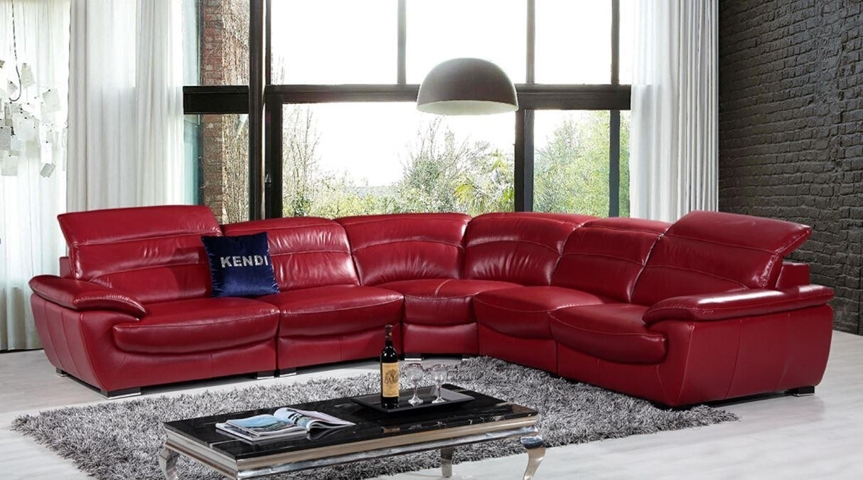 Contemporary & Luxury Furniture; Living Room, Bedroom,la Furniture with Red Leather Sectional Couches