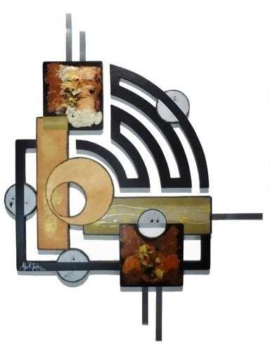 Contemporary Modern Geometric Abstract Art Wood Metal Wall For Geometric Modern Metal Abstract Wall Art (Image 6 of 15)