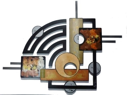 Contemporary Modern Geometric Abstract Art Wood Metal Wall Throughout Geometric Modern Metal Abstract Wall Art (Image 7 of 15)