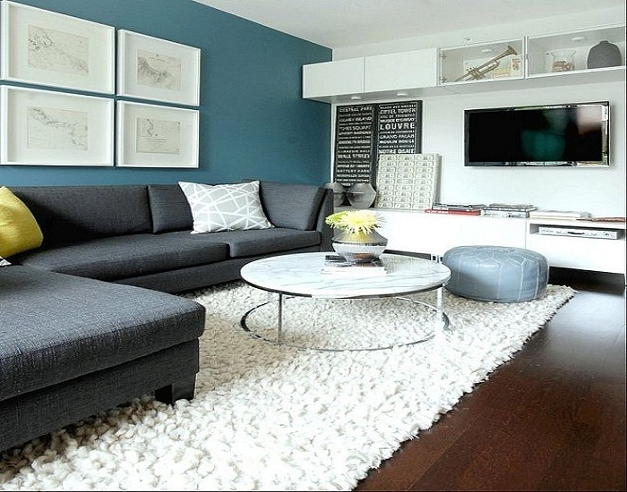 Contemporary Paint Accent Wall In Living Room (Image 7 of 15)