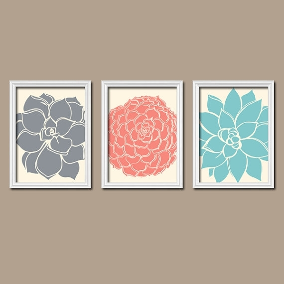 Coral Aqua Navy Wall Art – Matching Bedroom Pictures – Canvas Or With Vintage Bath Framed Art Prints Set Of (View 11 of 15)