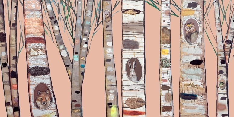 Coral Birch Trees Canvas Wall Artoopsy Daisy – Rosenberryrooms With Regard To Birch Trees Canvas Wall Art (Image 5 of 15)