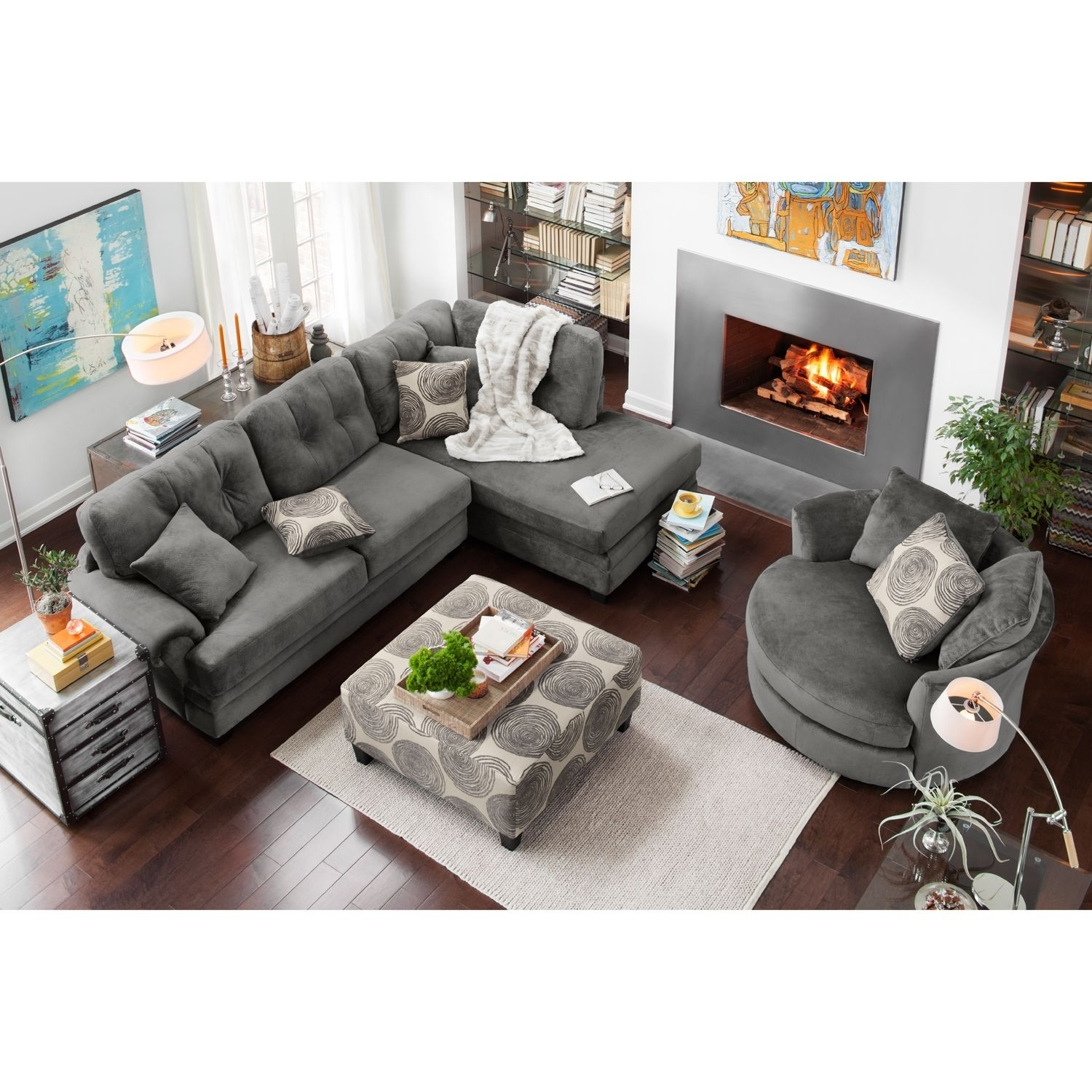 Cordelle 2 Piece Right Facing Chaise Sectional – Gray | City Throughout Value City Sectional Sofas (Image 2 of 10)