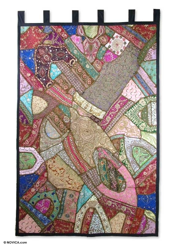 Cotton Patchwork Gujarati Wall Hanging Handmade In India – Jewels In Handmade Textile Wall Art (Image 3 of 15)