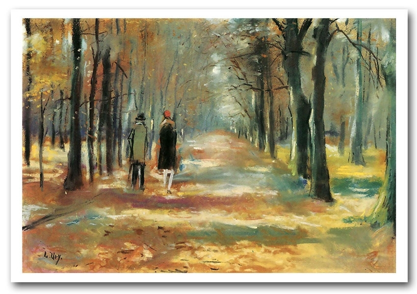 Couple Walking In The Woodslesser Ury Art Classic Framed Art Throughout Framed Classic Art Prints (View 2 of 15)