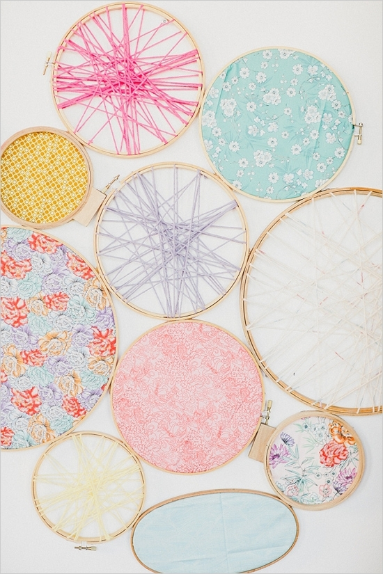 Crafty Eclectic Wedding | Wall Decorations, Embroidery And Decoration Pertaining To Fabric Hoop Wall Art (View 11 of 15)