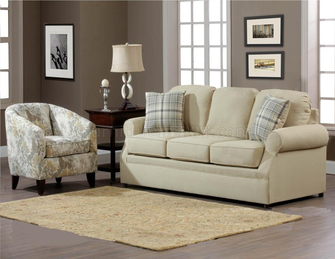 Cream Fabric Modern Sofa & Accent Chair Set W/options Pertaining To Sofa And Accent Chair Sets (Image 7 of 10)