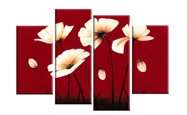 Cream Flowers On Red Background – 4 Panel Canvas Print Pertaining To Red Canvas Wall Art (View 6 of 15)
