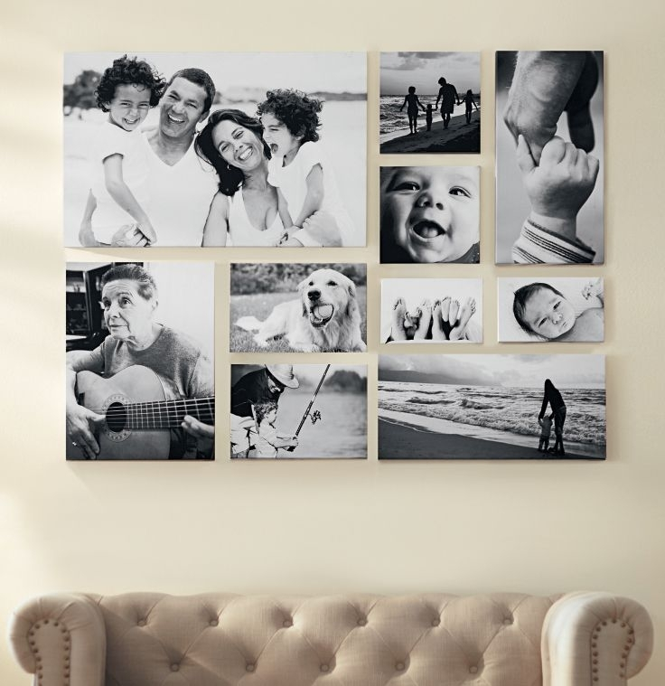 Create A Black And White Gallery Wall Of Favorite Family Pictures Throughout Black And White Photography Canvas Wall Art (Image 5 of 15)