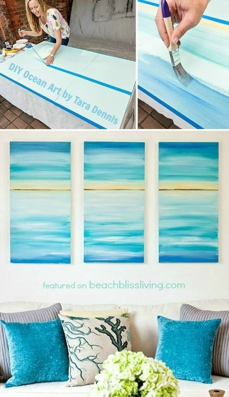 Create A Soothing Beach Vibe With Easy Diy Ocean Canvas Art Intended For Beach Themed Canvas Wall Art (View 11 of 15)