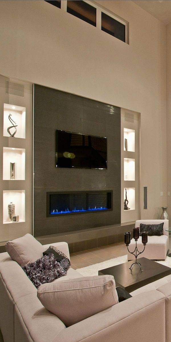 Creative And Modern Tv Wall Mount Ideas For Your Room | Fireplace With Wall Accents Behind Tv Or Couch (View 5 of 15)