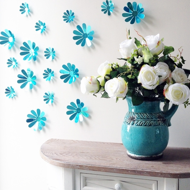 Creative Pvc Room Wall Decals 3D Flowers Wall Stickers Home With Regard To Flowers Wall Accents (Image 2 of 15)
