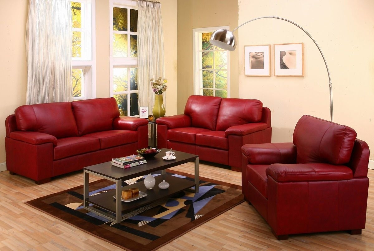 Creative Style Living Room Inspiration With Cream Wall Paint Color With Red Leather Couches And Loveseats (Image 2 of 10)