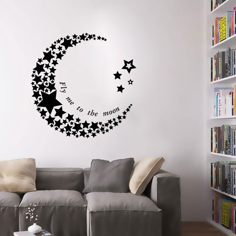 Crescent Moon Star Living Room Bedroom Pvc Art Vinyl Mural For Removable Wall Accents (View 13 of 15)