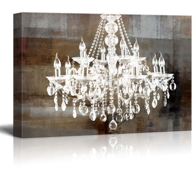 Crystal Chandelier Vintage Large Canvas Framed Wall Art Print Regarding Chandelier Canvas Wall Art (View 4 of 15)